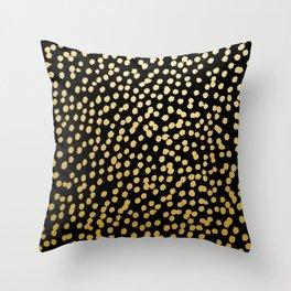 Gold and Black Spot Dot Pattern Throw Pillow