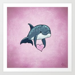 Love Ya! ~ Baby Dolphin by Amber Marine ~ Pink ~ (Copyright 2014) Art Print