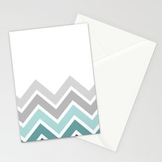 WHITE/ TEAL CHEVRON FADE Stationery Cards