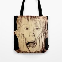 home alone Tote Bags featuring Home Alone by DeMoose_Art