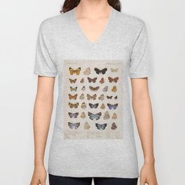 Vintage Scientific Insect Butterfly Moth Biological Hand Drawn Species Art Illustration Unisex V-Neck