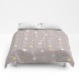 Pastel brown pink yellow Christmas snow flakes stars pattern Comforters