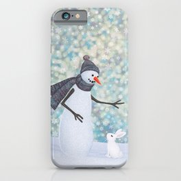 snowman and white rabbit iPhone Case