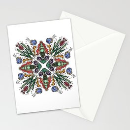 Happy Mermaid Princess Underwater Party Mandala Print Stationery Cards