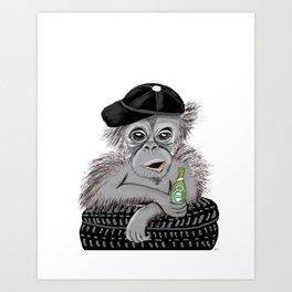 Monkey with beer Art Print