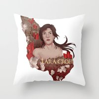 lara croft Throw Pillows featuring Lara Croft by Natalie Lucht