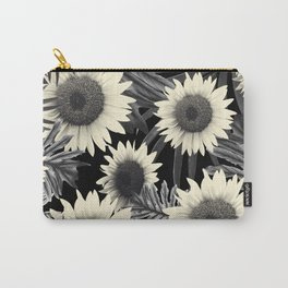 Tropical Sunflower Jungle Night Leaves Pattern #2 #tropical #decor #art #society6 Carry-All Pouch