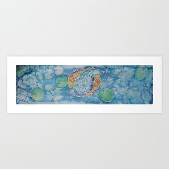Koi Pond Batik Art Print