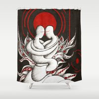 lovers Shower Curtains featuring Lovers by Anca Chelaru