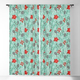 Winter Floral on Mint Blackout Curtain