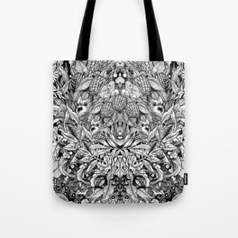 Summer Foliage, Black and White Tote Bag
