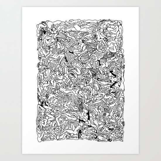 Lots of Bodies Doodle in Black and White Art Print