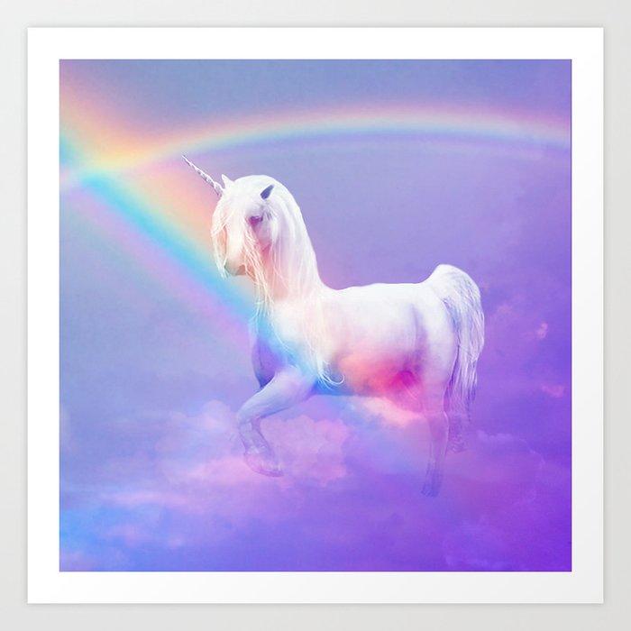 Unicorn and Rainbow Kunstdrucke