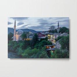 Evening Mostar city  Metal Print