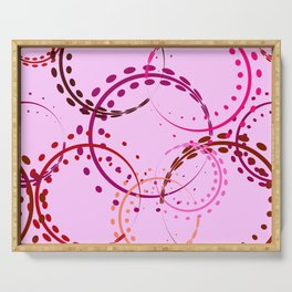 Pastel curls and circles of burgundy shades on a pink background. Serving Tray