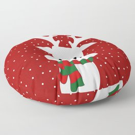 Reindeer in a snowy day (red) Floor Pillow