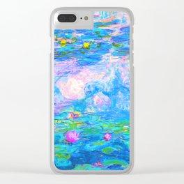 Monet Water Lilies - Pastel Fluro Clear iPhone Case