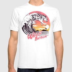 Wolf Beach White Mens Fitted Tee MEDIUM