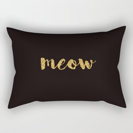 Meow - Gold Over Black Series Rectangular Pillow