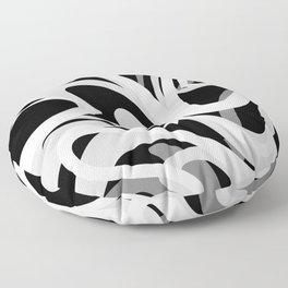 Finger Paint Swirls - Gray, Black and White Floor Pillow