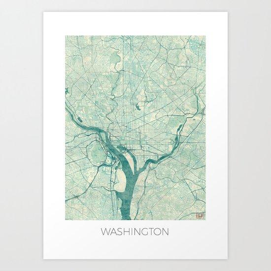 Washington Map Blue Vintage Art Print