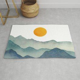 Mountain Range Silhouette – Blue & Yellow Rug