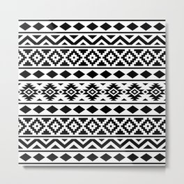 Aztec Essence Ptn III Black on White Metal Print