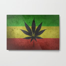 Green yellow and red color Cannabis Marijuana flag Metal Print