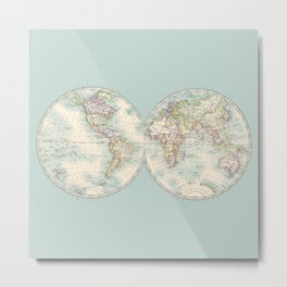 Hemispheres on Blue Metal Print