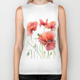 Spring Poppies Papaver Meadow Red Poppies White and Red Watercolor Biker Tank