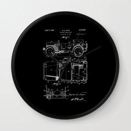 Jeep: Byron Q. Jones Original Jeep Patent - White on Black Wall Clock
