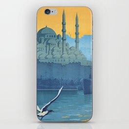 Mid Century Modern Travel Vintage Poster Istanbul Turkey Grand Mosque iPhone Skin
