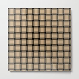 Tan Brown Weave Metal Print