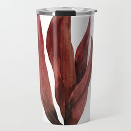Red Tropical Leaves Travel Mug