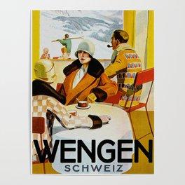 Vintage Wengen Switzerland Travel Poster