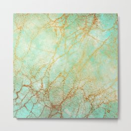 Marble effect blue and gold Metal Print