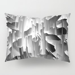 Flowers Exploding with Glitch in Black and White Pillow Sham