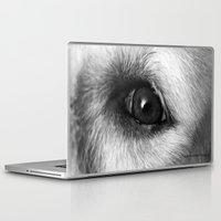 golden retriever Laptop & iPad Skins featuring Golden retriever eye by Isabelle Savard-Filteau