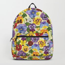 Watercolor pansy flowers- yellow mix Backpack