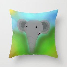 Elbert the Elephant Throw Pillow