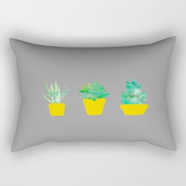 3 Adorable Succulents in Pots - Grey Yellow and Green Rectangular Pillow