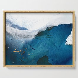 In the Surf: a vibrant minimal abstract painting in blues and gold Serving Tray