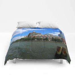 Manhattan And Hudson River Comforters