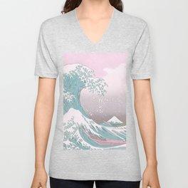 Pastel Great Wave off of Kanagawa  Unisex V-Neck