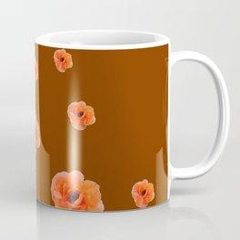 ORANGE POPPY FLOWERS ON COFFEE BROWN Coffee Mug