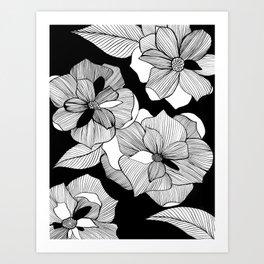 Black Floral Art Print