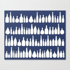 Bottles Navy Canvas Print
