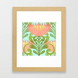 King Protea Flower Pattern - Turquoise Framed Art Print