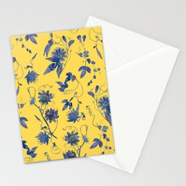 Elegant Blue Passion Flower on Mustard Yellow Stationery Cards