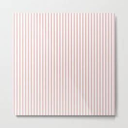 Small Camellia Pink and White Mattress Ticking Stripes Metal Print